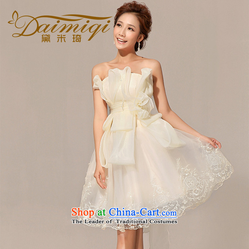 Doi m qi wedding dresses new 2014 wedding dress bridesmaid dress uniform dress bows short skirts, champagne color?L