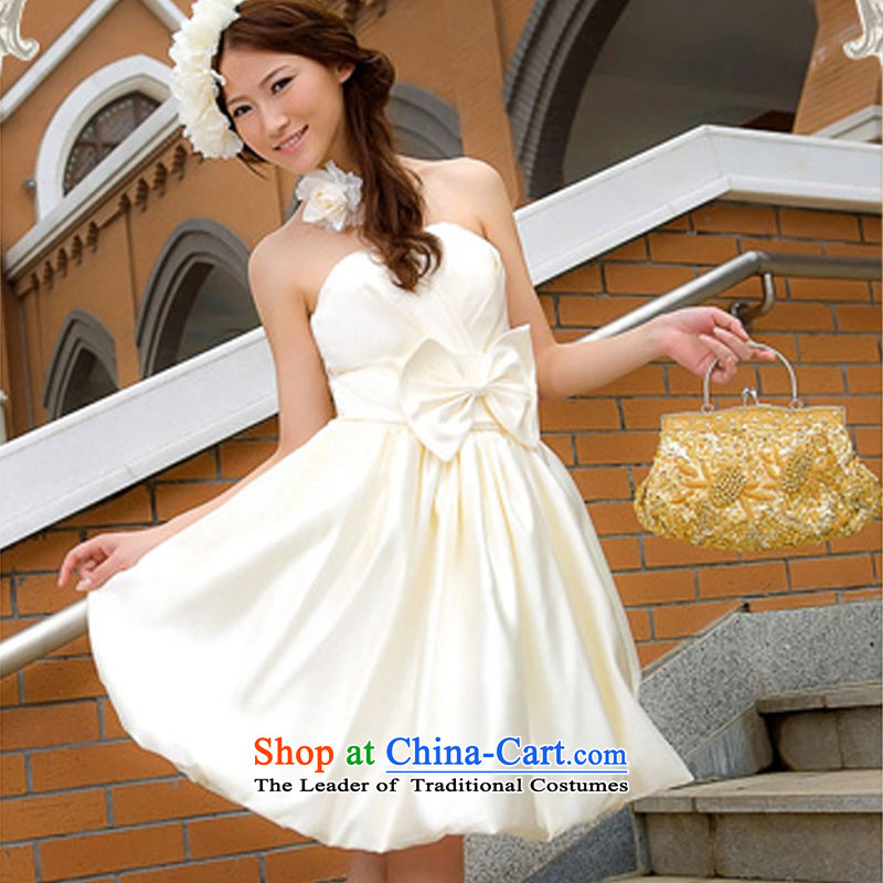 Doi m qi dress uniform evening dresses dress bows short of small dress wedding dress bridesmaid dress champagne color�L