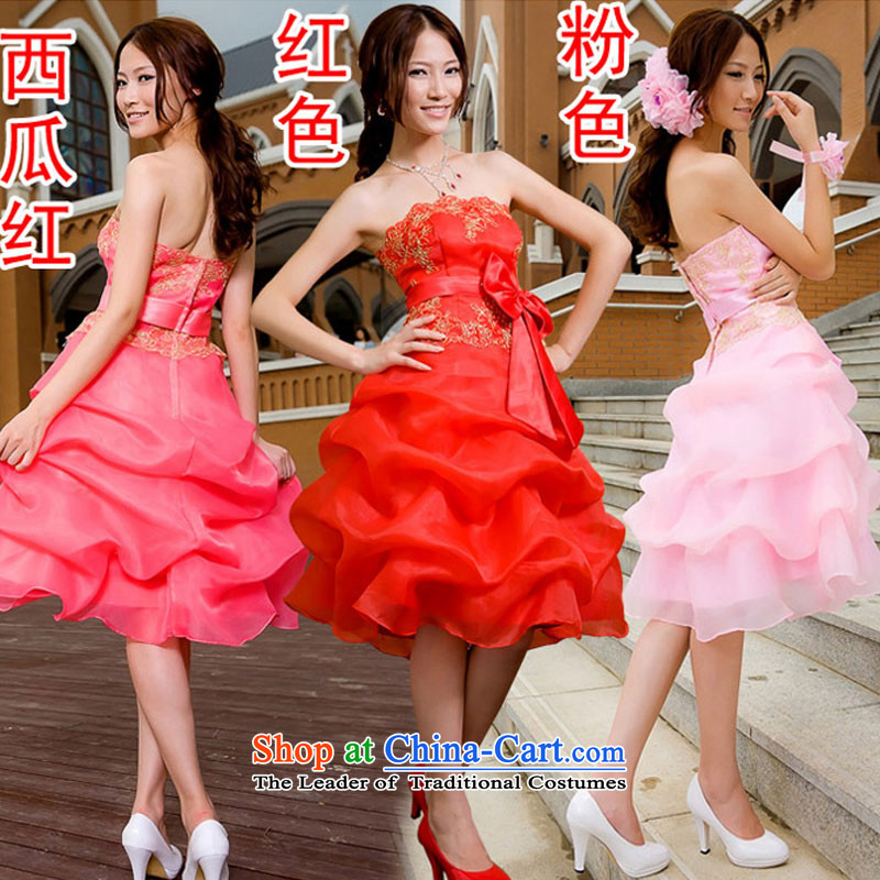 Doi m qi dress bridesmaid dress uniform evening dresses dress bows short) bridesmaid service wedding dress small pink dresses L