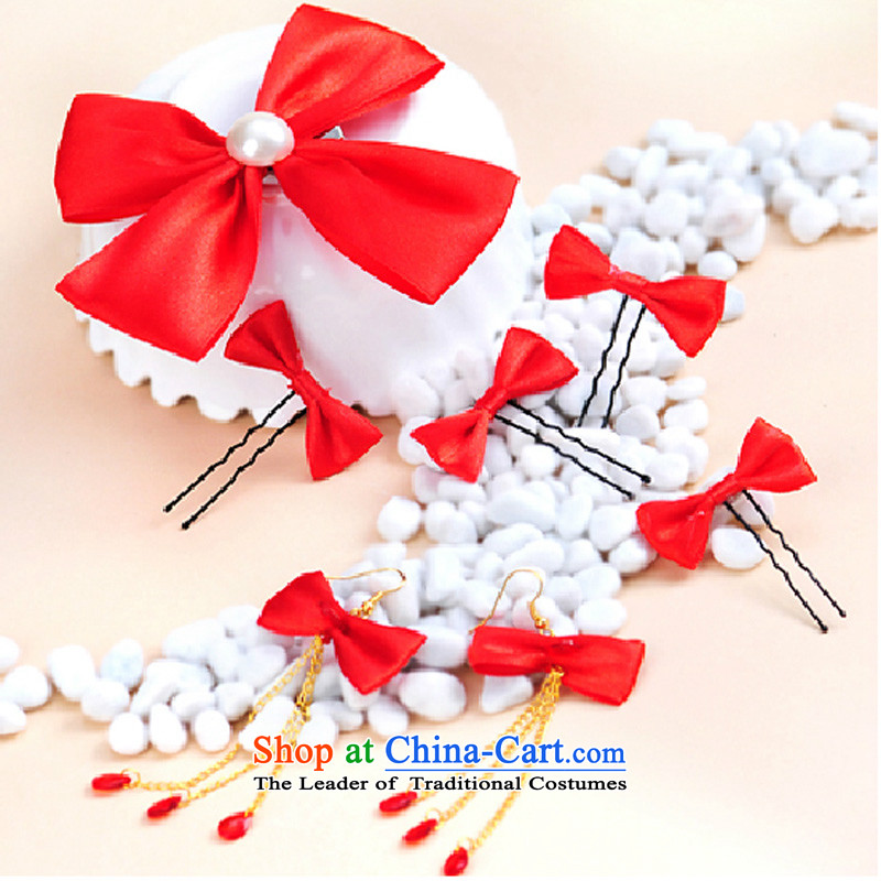 Mslover?Bow Tie manually marriages headdress and flower arrangements?HA130401 accessories?earrings Card 8 Piece White