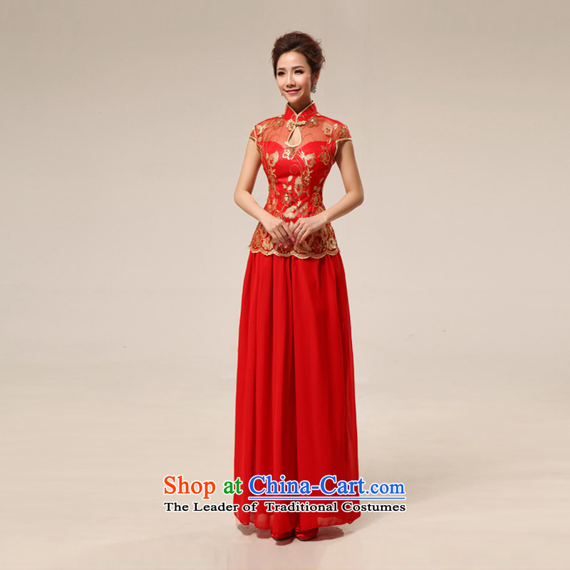 Shared Keun guijin qipao marriages retro lace improvement of long red transparent lace sexy qipao 68 large red�S code from Suzhou Shipment