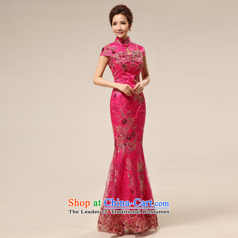 Shared Keun guijin retro marriage ceremonies cheongsam wholesale welcome improvement services etiquette clothing cheongsam dress summer stylish 67 Red?L code from Suzhou Shipment