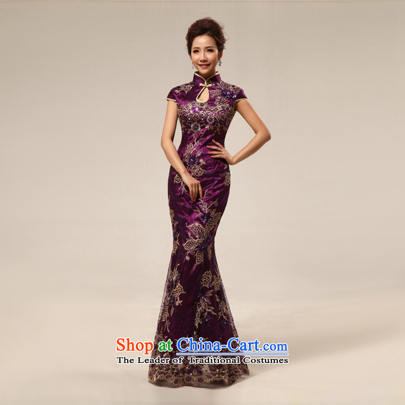 Improvement of shared Keun guijin Sau San sexy purple temptation embroidery package and bride qipao bows services?code from Suzhou q67 M Shipping