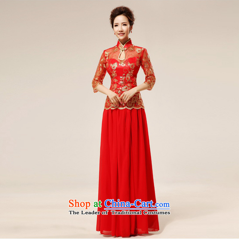 Shared-keun guijin up and down the two piece classical style qipao Red temptation and sexy transparent bows?q75 serving?large red?S code from Suzhou Shipment