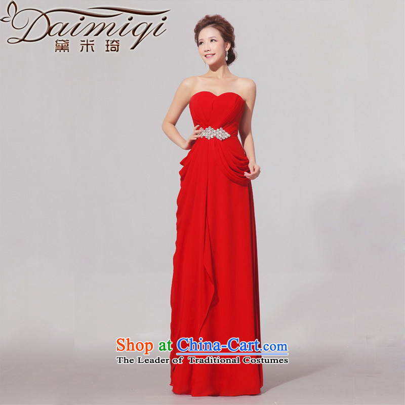 Doi m qi wedding dress elegant red dress video thin long gown bows service bride drill RED聽M