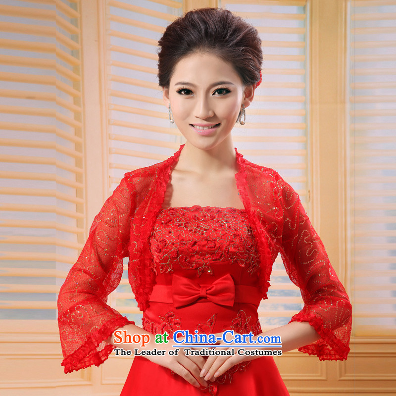 ?The spring and autumn on Korean-style mslover chip lace marriages cheongsam wedding dresses in spring and autumn shawl shawl?OW121102?red