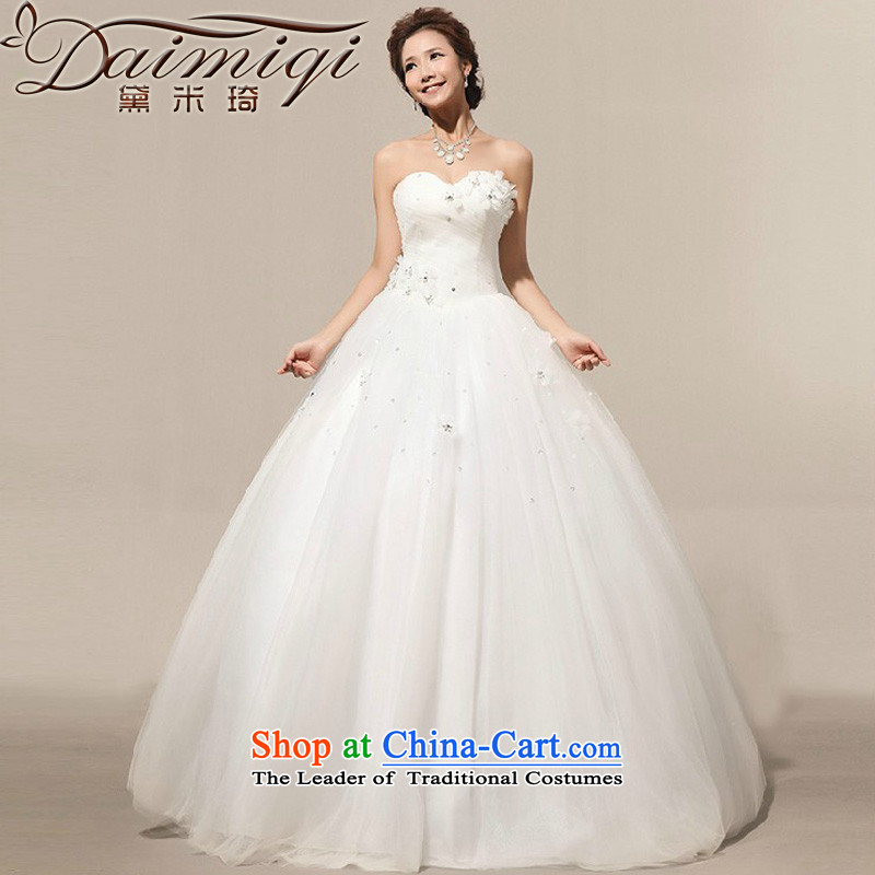 Doi m qi 2014 new on new manual flowers Marquee to skirt the bride Korean wedding dress white?L
