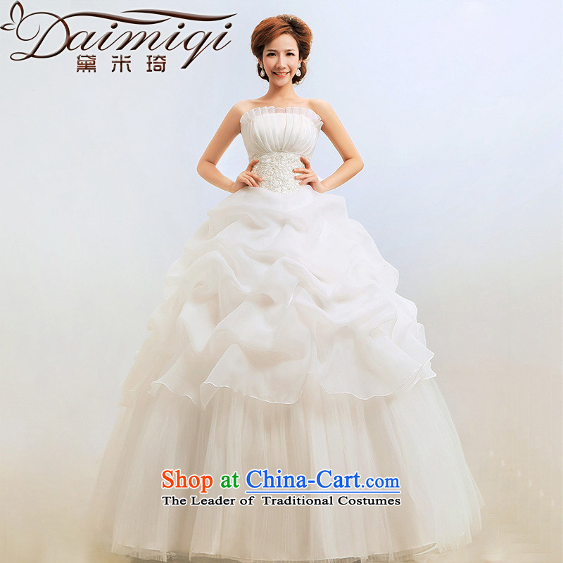 Doi m Qi Korean wedding dresses new 2014 anointed chest to Princess graphics thin bon bon spring wedding Tier 5 Standard Edition White XXL