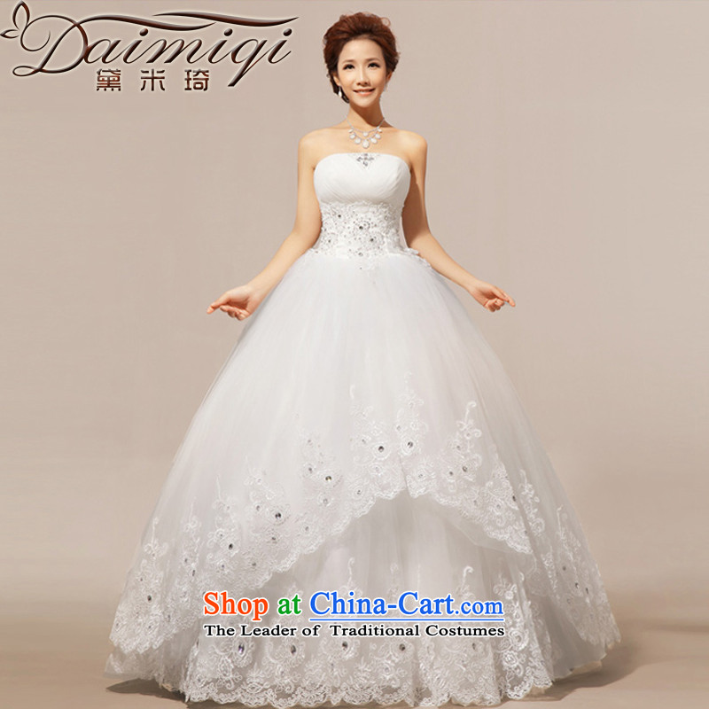 Doi m qi wedding dresses new 2014 lace anointed chest wedding Korean Princess Wedding Dress White?XXL