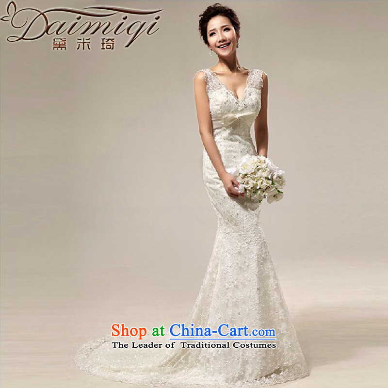 Doi m qi 2014 New royal retro sexy deep V deluxe lace Sau San crowsfoot tail bride wedding cream?XXL