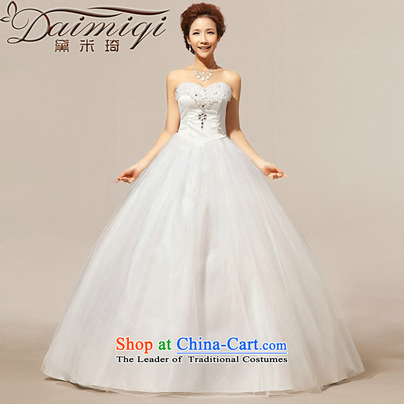 Doi m qi wedding dresses?Summer 2014 new anointed chest Korean lace crystal diamond bon bon wedding dresses White?M