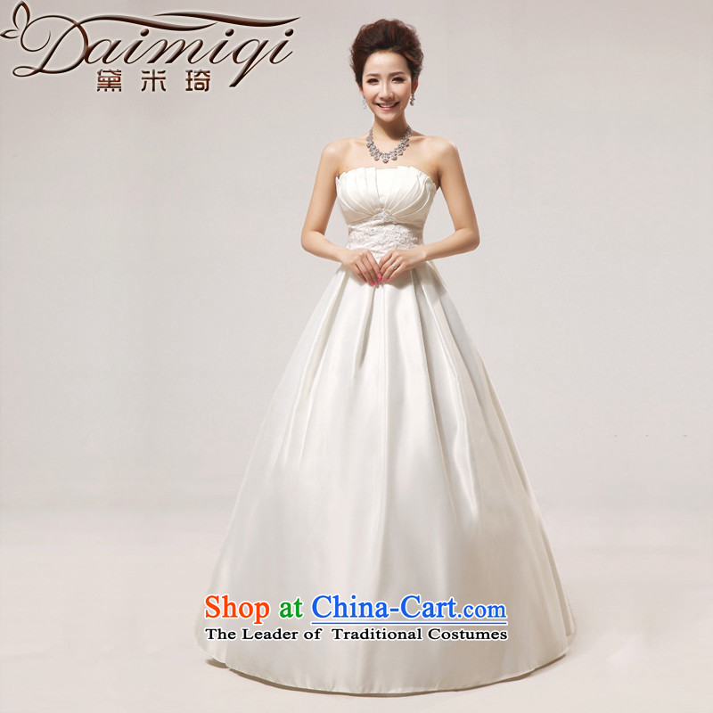 Doi m qi wedding dresses new spring 2014 wedding Princess Korean super video graphics thin white wedding anointed chest to Butterfly m White?XXL