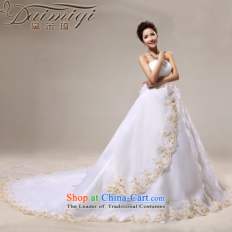 Doi m qi wedding dresses new 2014 Korean style wedding anointed chest princess large tail wedding spring wedding White聽XXL