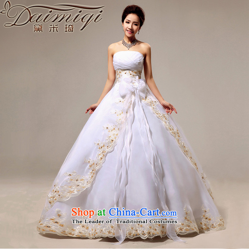 Doi m qi wedding dresses to align the new 2014 wedding anointed chest Korean Princess graphics thin OSCE root yarn upscale wedding white�S strap)