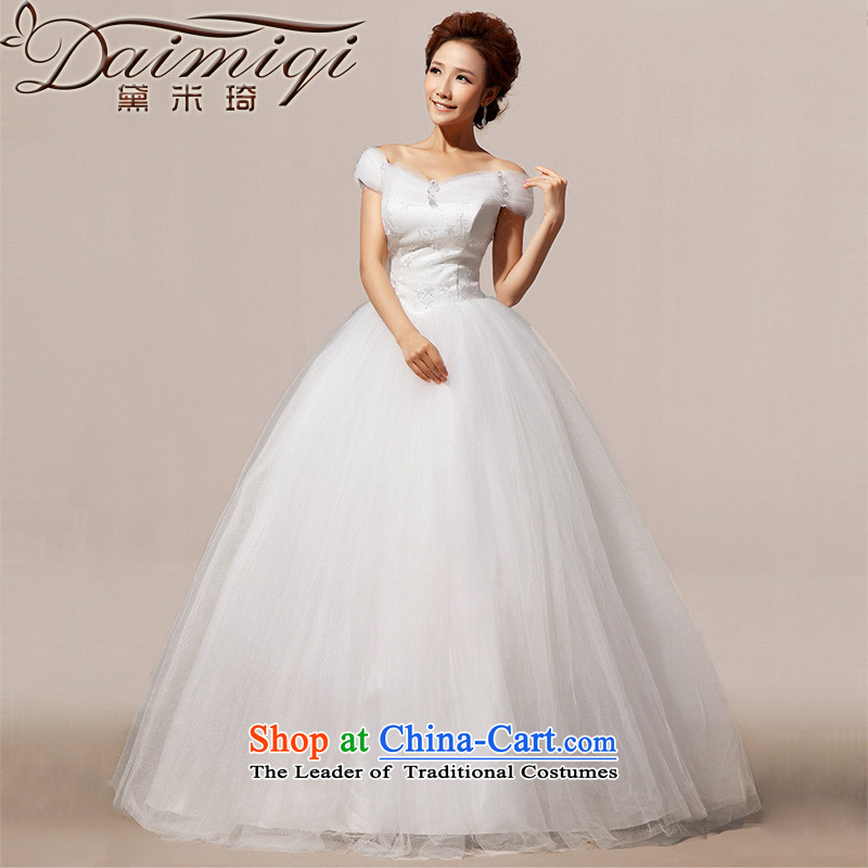 Doi m qi new Korean version of 2014 Sau San video word thin shoulders to align bon bon diamond wedding m White�L