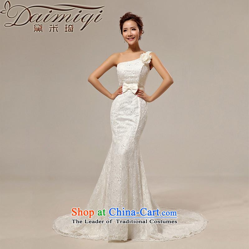 Doi m qi 2014 new wedding crowsfoot tail wedding Korean Sau San retro shoulder strap with lace wedding band creamXL