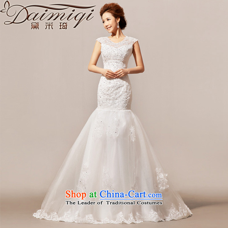 Doi m qi 2014 New Angel lace on small trailing wedding gown wedding dress white?L