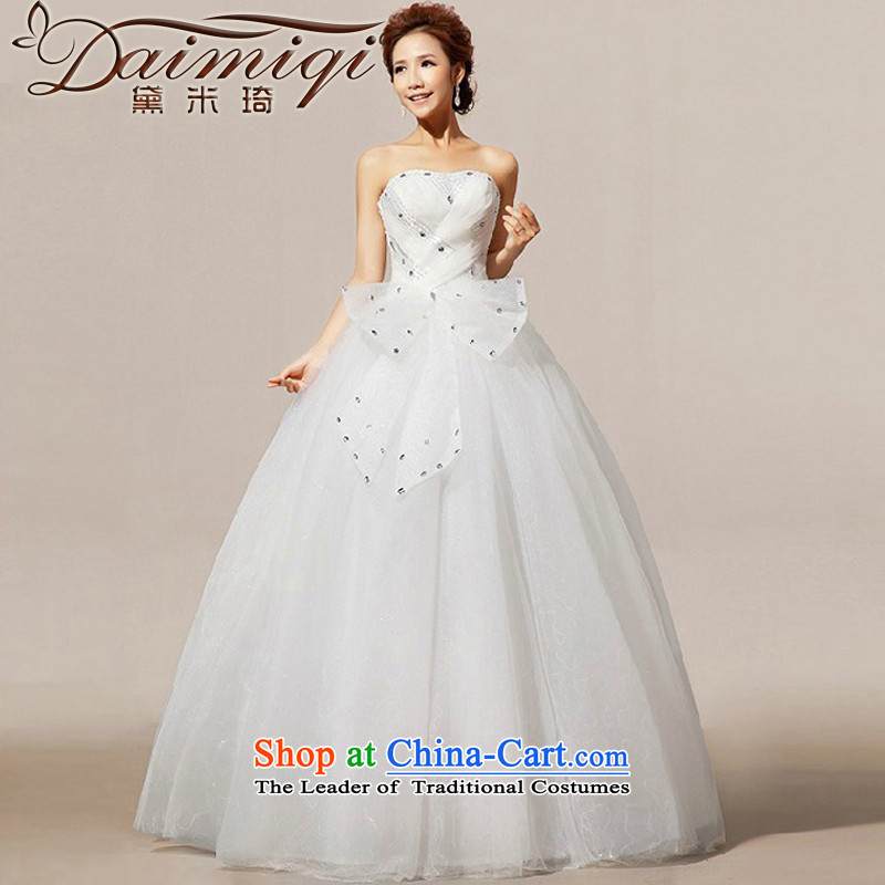 Doi m Qi New 2014 wedding marriage wedding Korean creases diamond wedding dresses church White XL