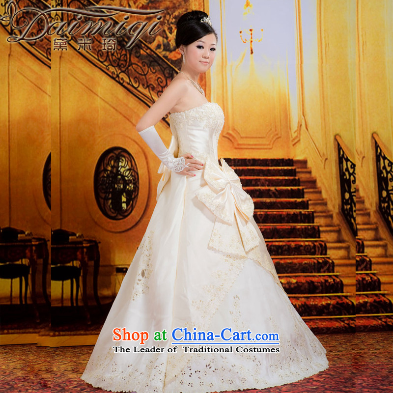 Doi m qi wedding dresses?spring 2014 wedding thick satin winter wedding Korean staple pearl wiping the chest wedding incense fashionable color?M 2 feet waist