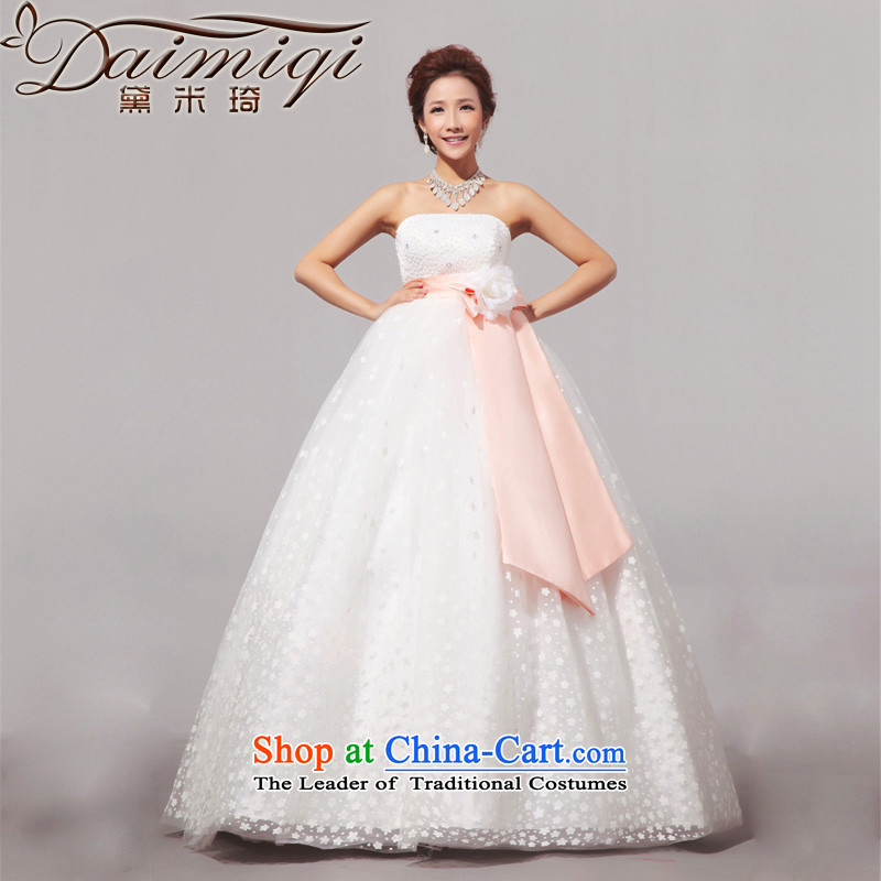 Doi m qi?2014 new sweet large Korean pregnant women wedding wedding dress wiping the chest wedding White?XL