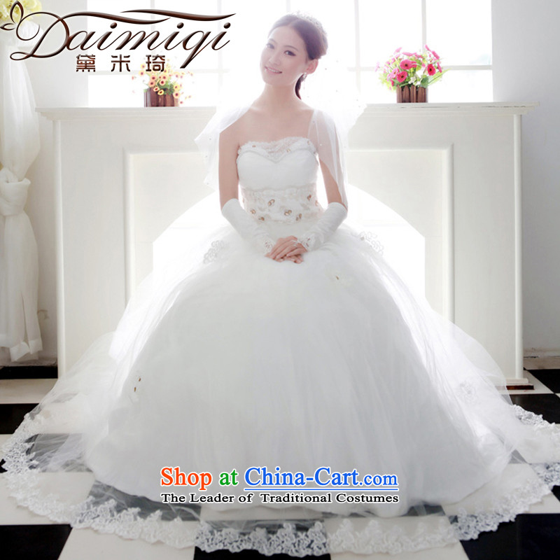 Doi m qi wedding dresses new 2014 Korean Princess graphics thin wedding deluxe lace stereo wedding cream?XXL