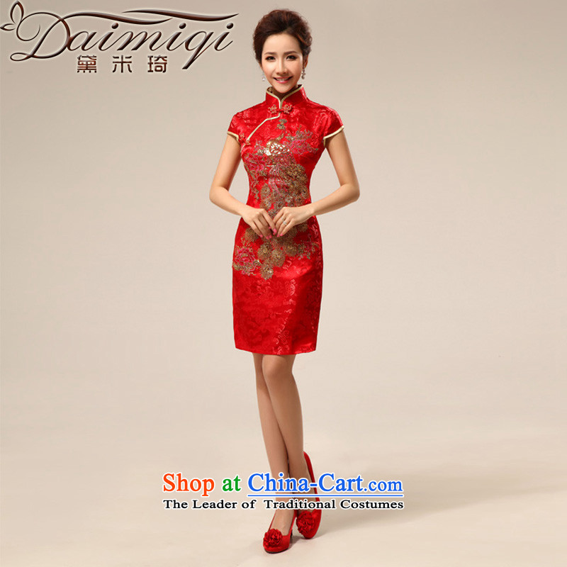 Doi m qi cheongsam dress summer stylish modern retro summer qipao improved services to the dragon qipao marriage bows red L