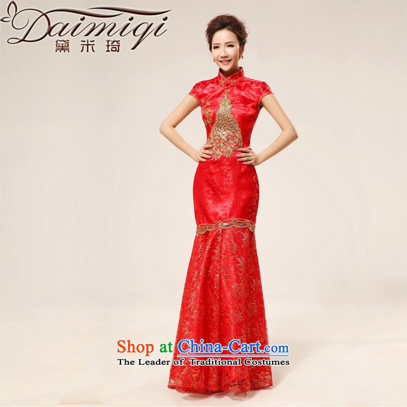 Doi m qi bridal dresses qipao cheongsam dress retro married long seamless Gold Phoenix cheongsam improved summer red?XXL