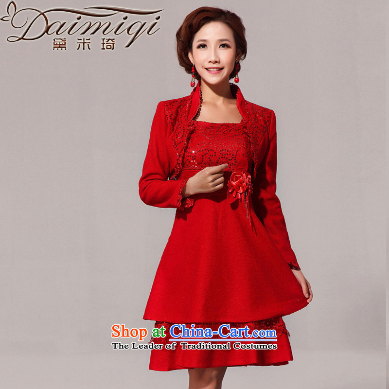 Doi m qi 2014 new wool a red jacket back door onto toasting champagne qipao services RED�M