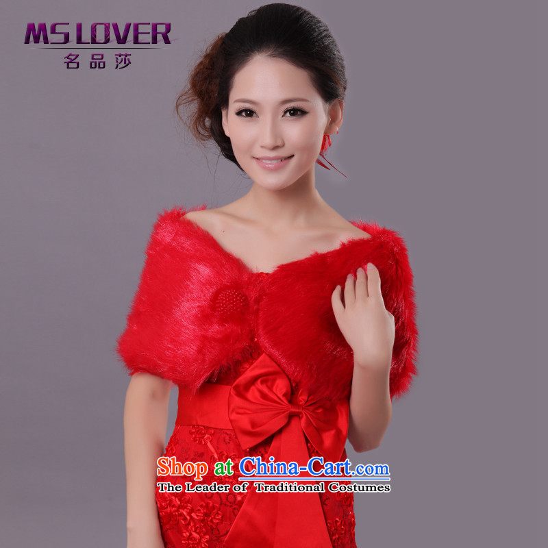 ?Wedding dress in spring and autumn mslover warm winter partner plush pearl detained marriages?FW121110 shawl?red both gross code