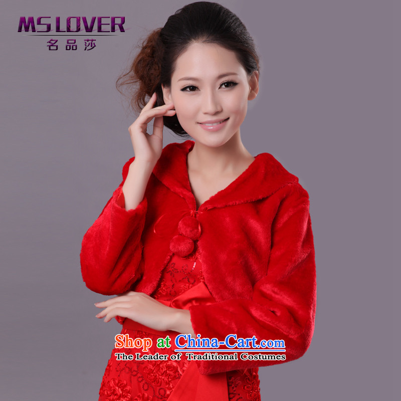 Mslover?wedding dresses warm partner velvet long-sleeved flat for tether gross ball marriages shawl jacket?FW121111 gross?are Code Red