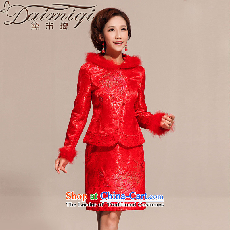 Doi m qi winter wedding dress kit qipao qipao improved stylish qipao marriage short of autumn and winter cheongsam red?L