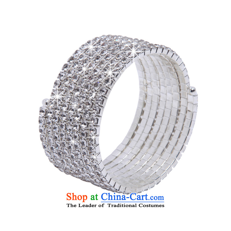 聽Stylish multi-tier spiral mslover full of charm bracelets brides elasticity drill hand chain wrist Jewelry Ornaments聽B130802 bride聽silver聽5 Rows