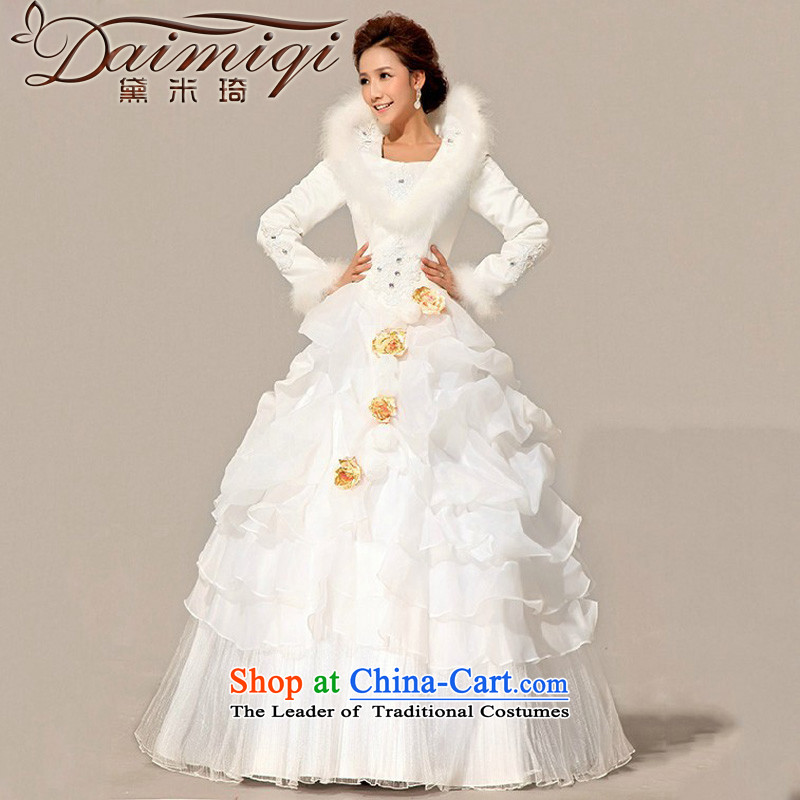Doi m qi wedding dresses 2014 new bride winter wedding gross cotton for wedding warm long-sleeved cotton wedding white L