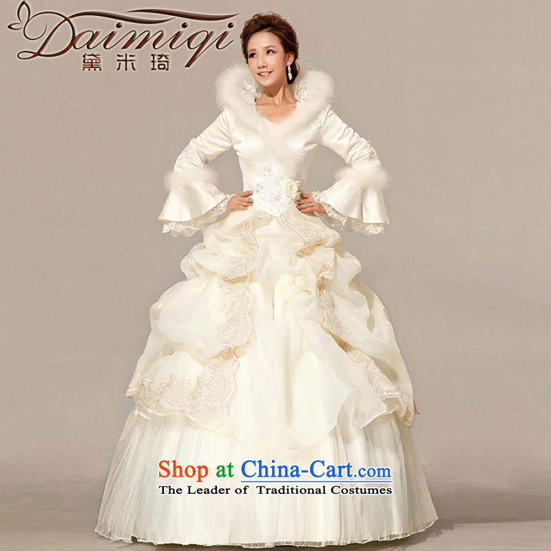 Doi m qi winter wedding Princess Bride to align the long-sleeved wedding dresses 2014 new winter_ cotton wedding photo color聽S