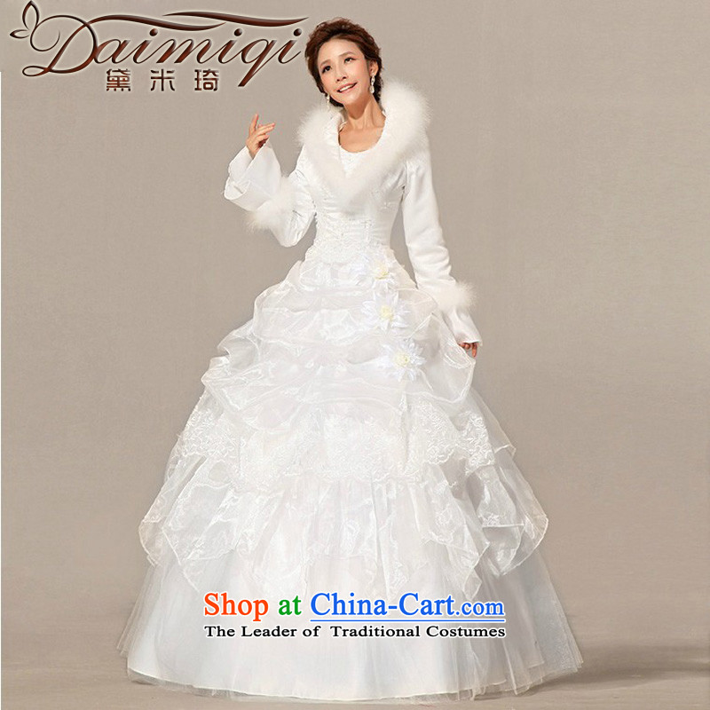 Doi m qi wedding dresses new 2014 winter wedding with modern Korean gross long-sleeved plus cotton wedding White?M