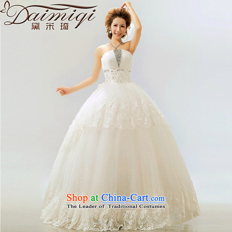 2014 new stars with retro flash light drill Korean bon bon marriages wedding dresses m White?XL