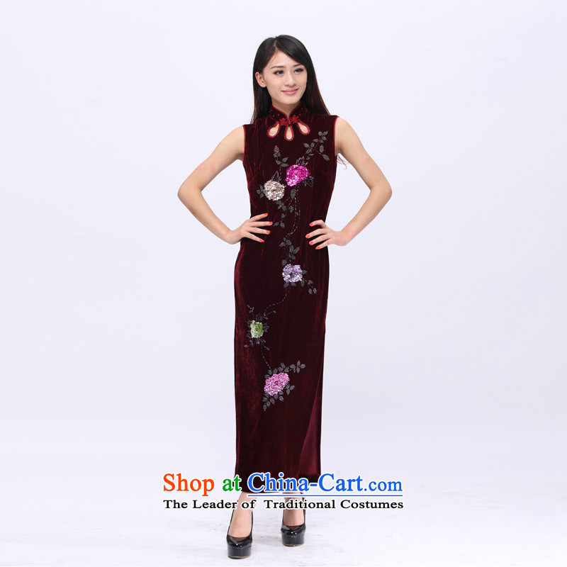 Star magazine, Stretch Wool hand embroidery colorful beads flower high-end style qipao gown 201503 wine red?L