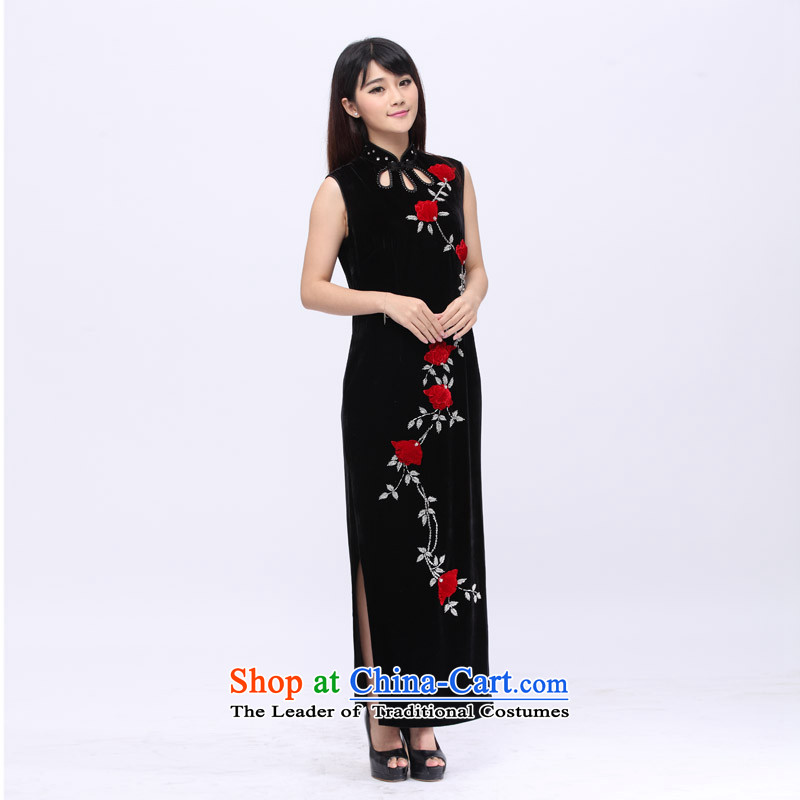 Star magazine, noble aristocratic velvet gown full manually set crystal embroidered stereo flower cheongsam 201502 Black L