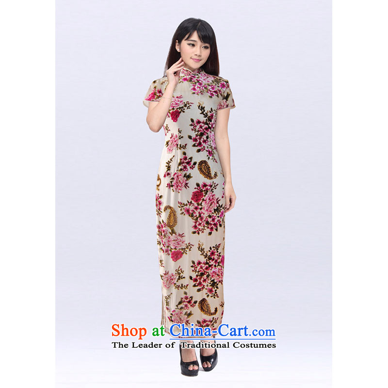 Mrs Yeojin scouring pads rotten spend on white colored flowers 201523B QIPAO?M
