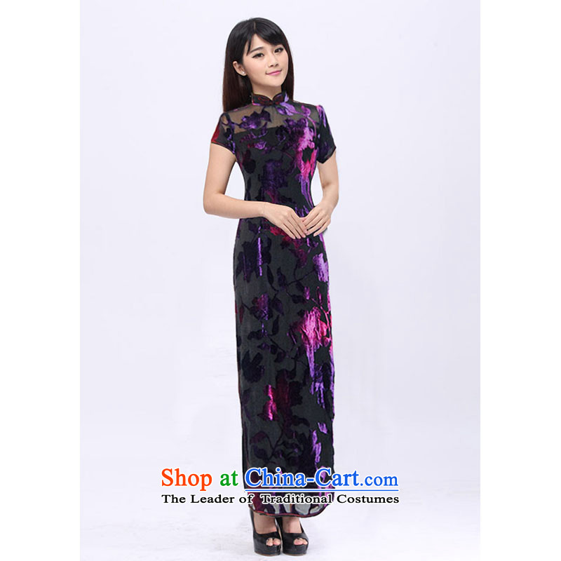 Digang qipao custom summer stylish short-sleeved long length of the Jurchen people scouring pads burned Mrs Pin 201527 black skirt qipao M