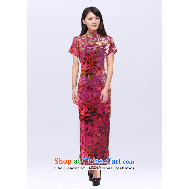 Summer Chinese cheongsam dress improved long custom Mrs Yeojin scouring pads rotten spend qipao 201522A banquet peach?S