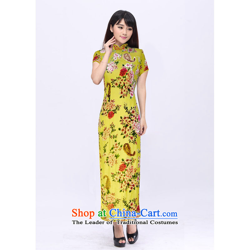 Upscale cheongsam dress summer long Mrs Yeojin scouring pads rotten spend qipao 201526D custom yellow?XXL