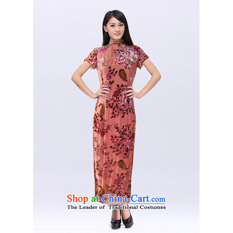 Improved cheongsam custom summer Mrs burned purple mists of the Jurchen people velvet gown of qipao banquet skirt 201525C pink?XXL