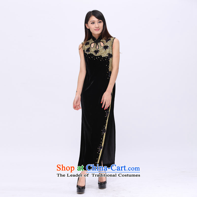 Email noble elegance package ladies dress full hand made embroidered booking Pearl Stretch Wool qipao 201501 Black�M