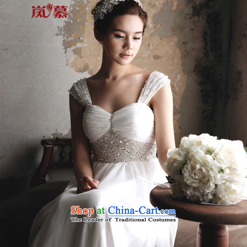 The sponsors of the 2015 New LAURELMARY, Sau San foutune chiffon small trailing wedding dresses pure white color (as shown) L(B-90/W-74)