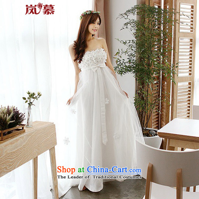 The sponsors of the 2015 New LAURELMARY, Korean Top Loin of twine bow knot pregnant women wedding dresses�M(B=85/W=69) pure white