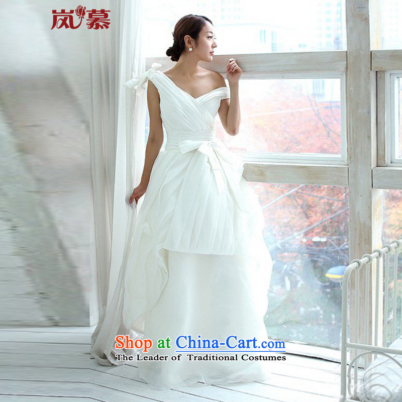 The sponsors of the 2015 New LAURELMARY_ Wang smiled style Korean deep V-Neck Top Loin of Sau San temperament wedding dresses S_B-80_W-64_ pure white