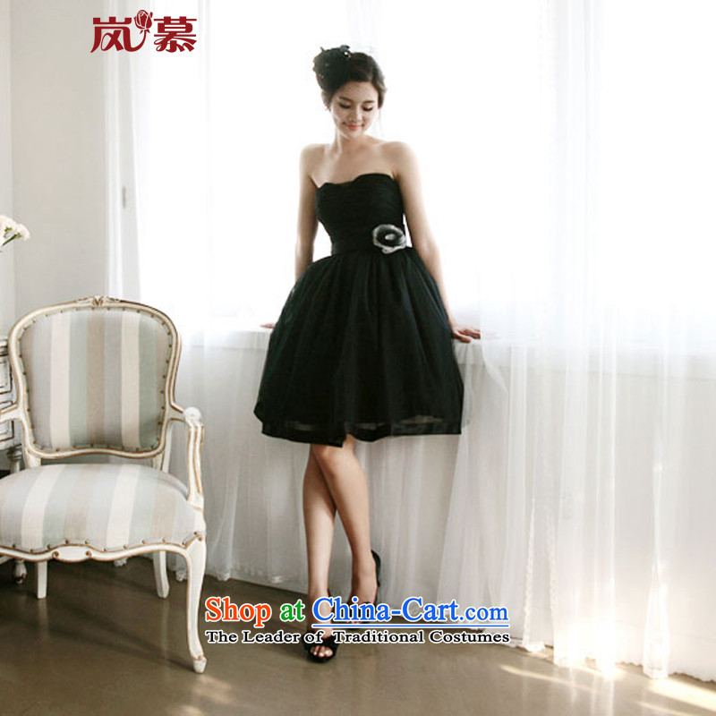 The sponsors of the 2015 New LAURELMARY, Korean stylish and simple atmospheric bridesmaid dress figure black?S