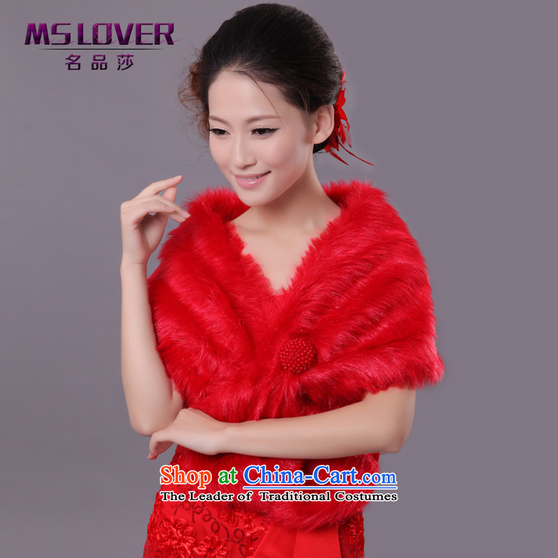 �Wedding dress in spring and autumn mslover warm winter partner plush pearl detained large ear hair shawl�FW121115 marriages�red