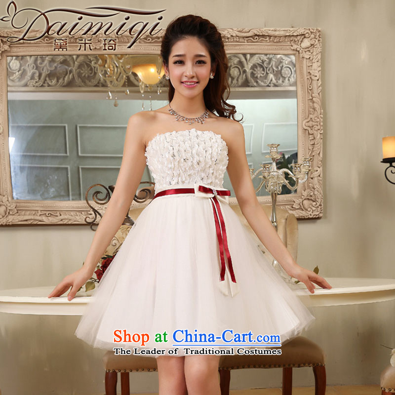 Doi m qi wedding dresses 2014 new anointed chest in a small short of flowers waistband dress stereo bon bon dresses evening dresses white?S